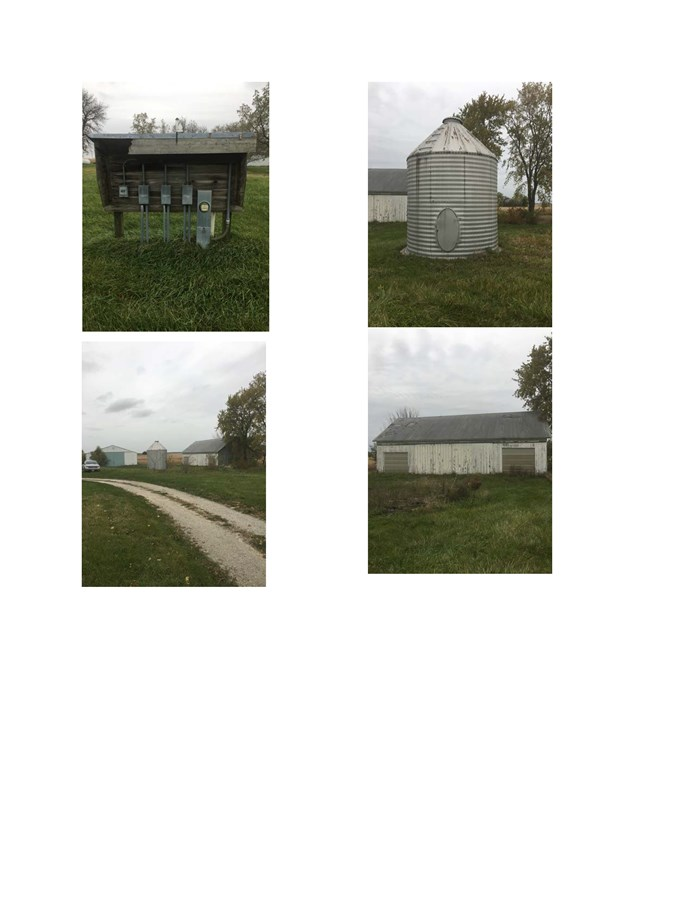Machine shed, grain storage, power supply and wooden shed