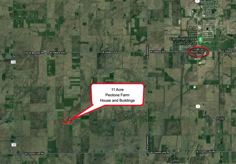 Area Map 11.3 Acre Peotone House and Buildings Will Township, Will County, IL