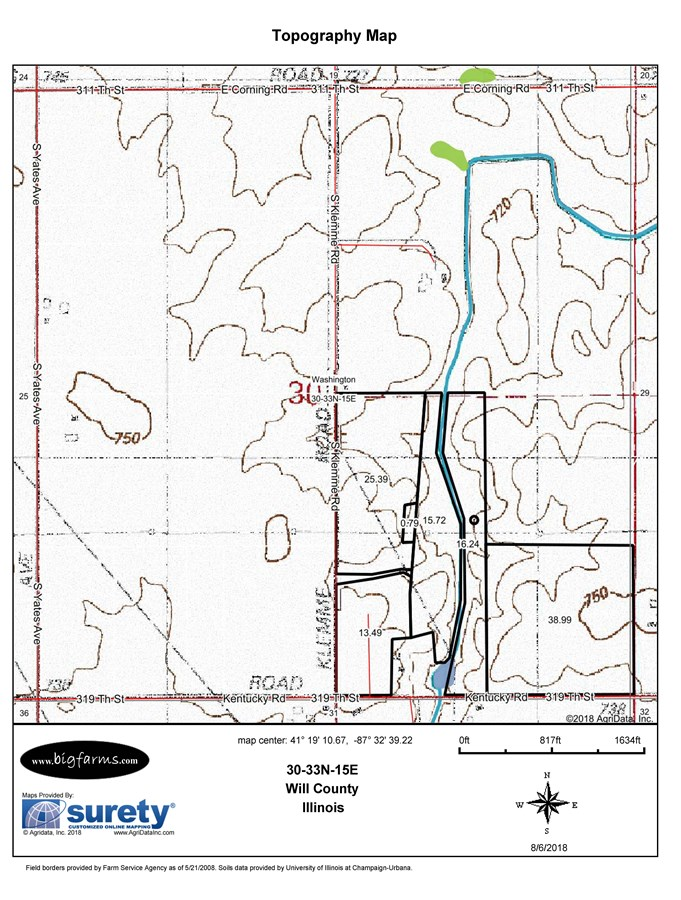 Topographical  Map of 110 acres in Washiington Township, Will County, IL