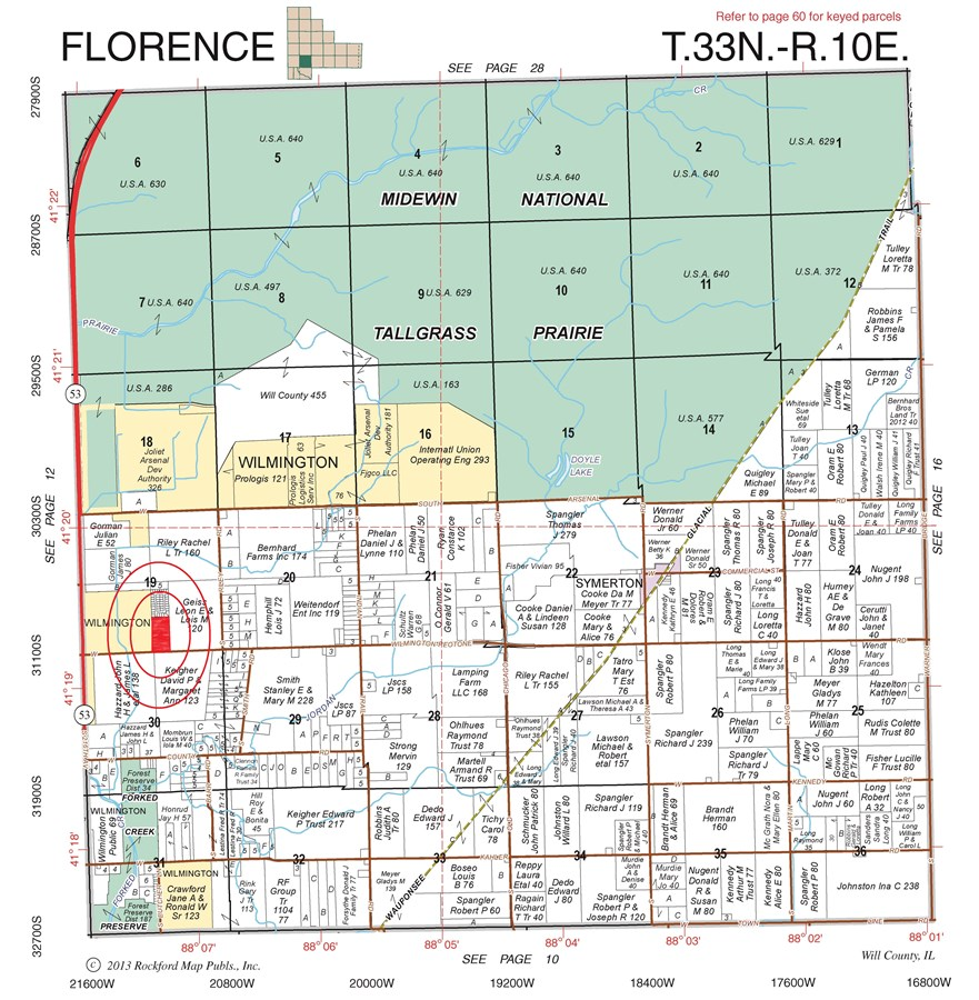 Plat Map of 20 Acres Florence Township, Will County