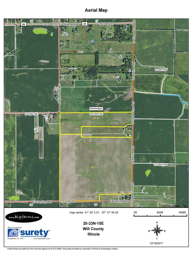 FSA Map of 119 Acre Washington Township State Line Rd Farm