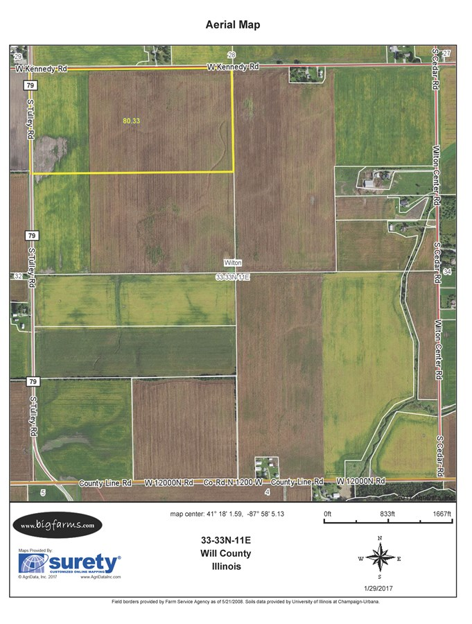 FSA Map 80 acres in Wilton Township, Will County
