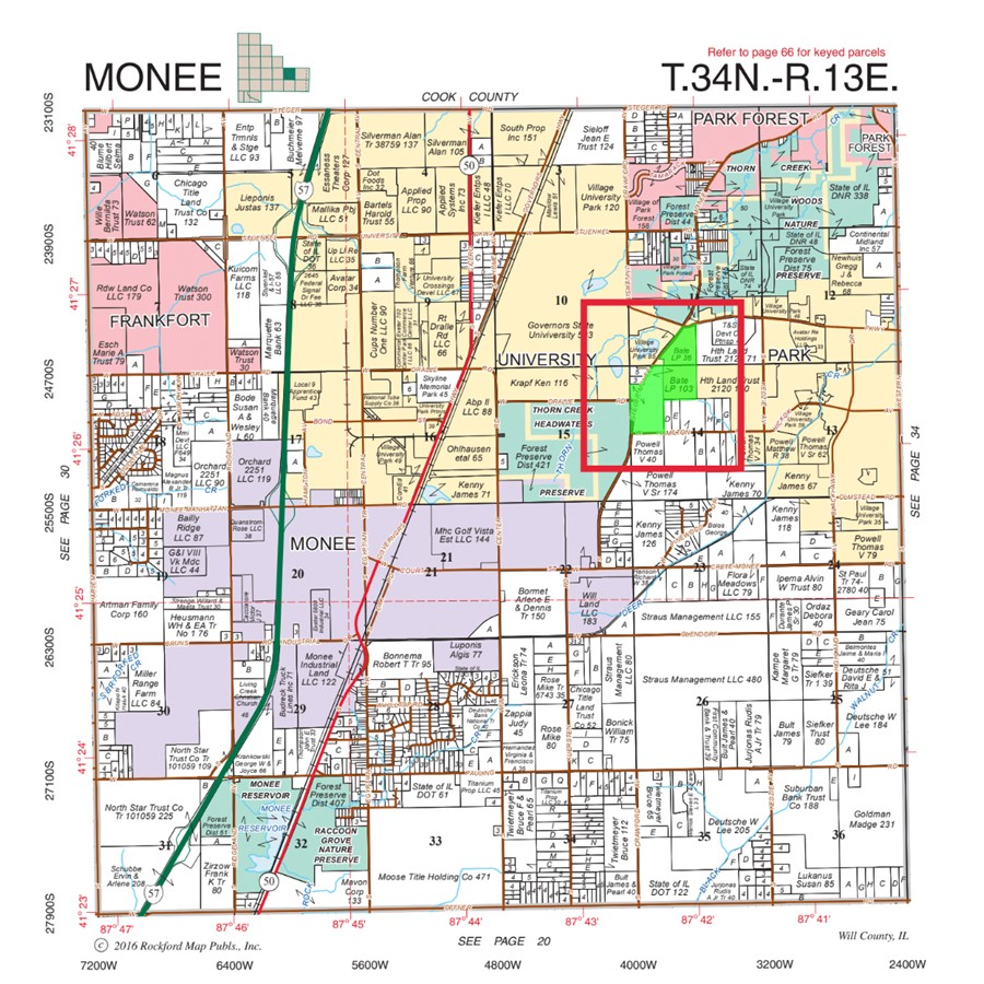 Plat Map 140 Acre Bate Farm University Park Monee Township, Will County