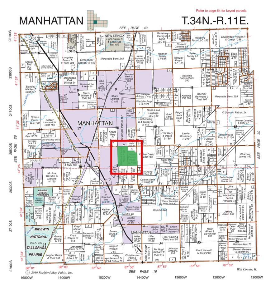 Plat Map 140 Acre Manhattan Farm Located in Manhattan Township, Will County, IL
