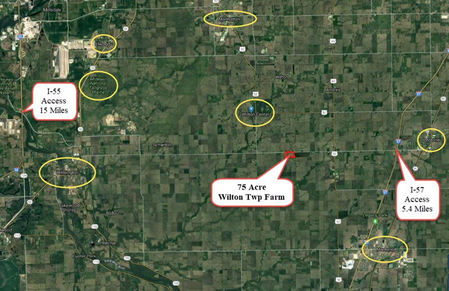 Aerial Map of the General Location for 75 Acres in Wilton Township, Will County IL