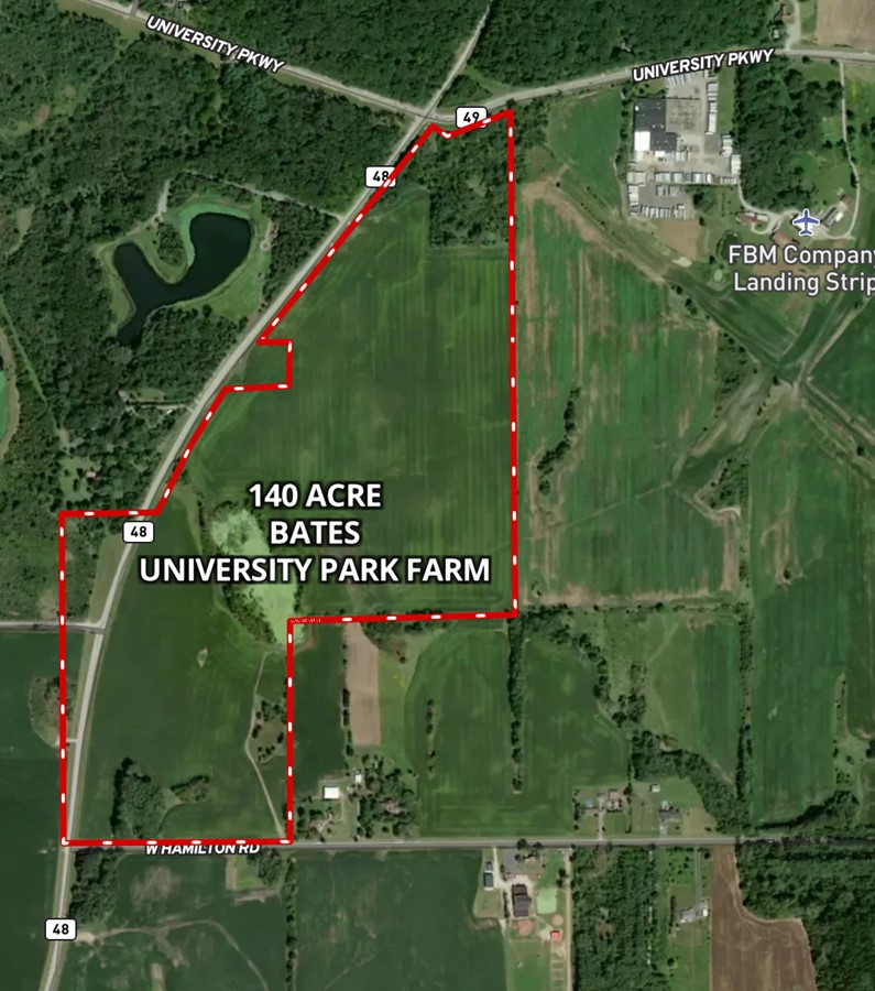 Aerial Map 140 Acre Bate Farm University Park Monee Township, Will County