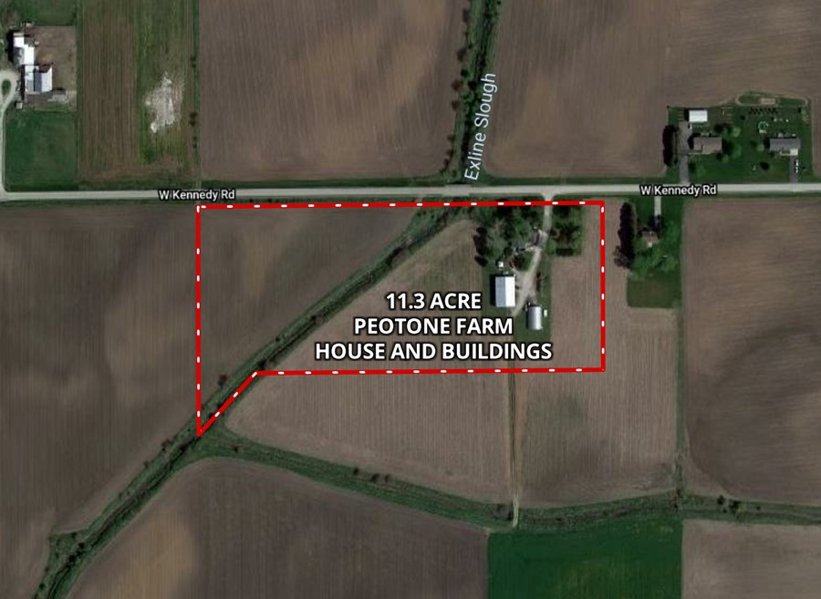Aerial Map 11.3 Acre Peotone House and Buildings Will Township, Will County, IL