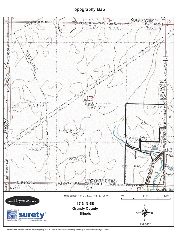 Topographical Map of 80 Acre Parcel 1 Highland Township
