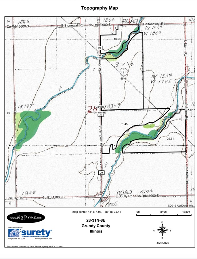 Topography Map 155 Acre Gardner Farm Garfield Township, Grundy County, IL