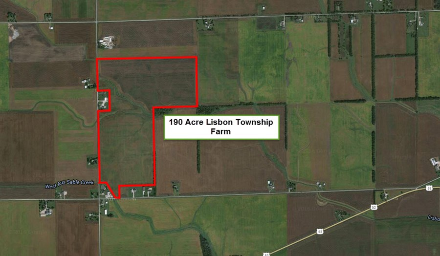 Aerial Map of 190 ac Lisbon Township Farm