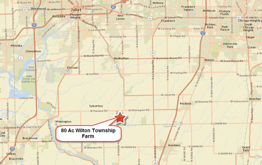 Road Map of Wilton township 80 acres, Will County