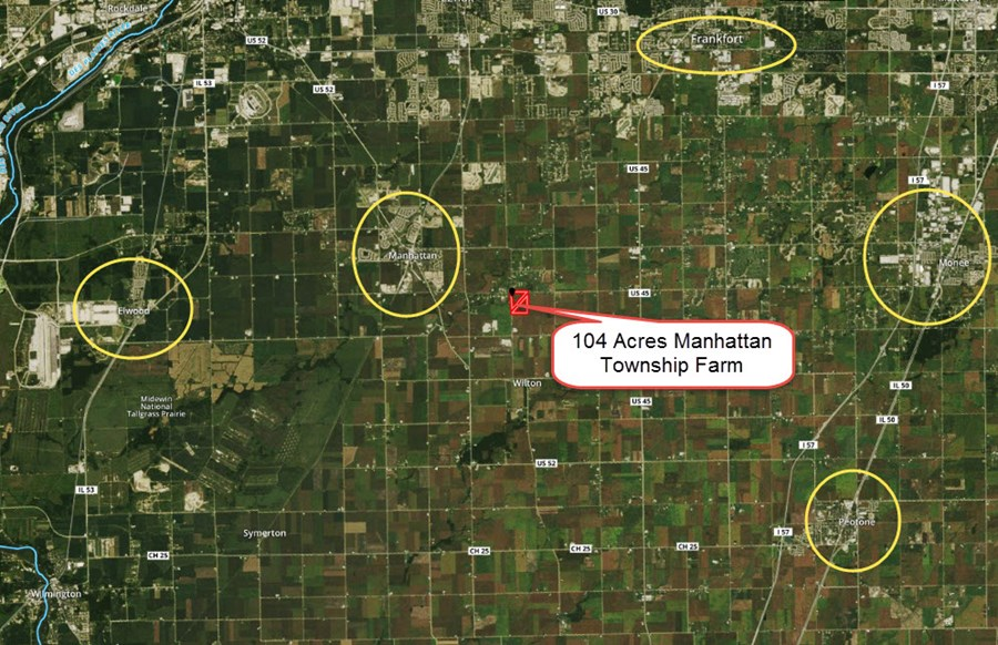 Location Map of 104 acres Manhattan Township, Will County