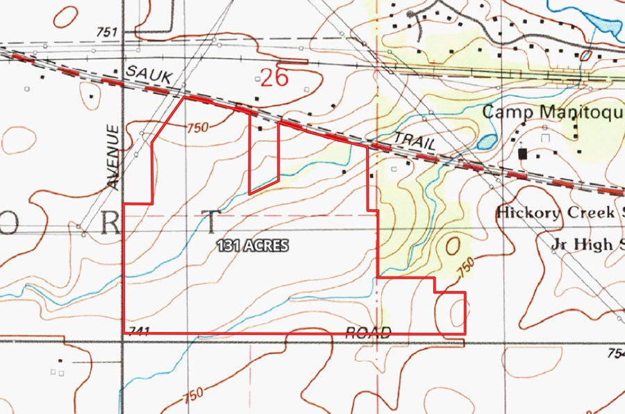 131 Acre Topographical Map in Frankfort, IL