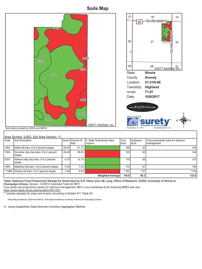 Soil Map of Parcel 3, 75 Acres Highland Township