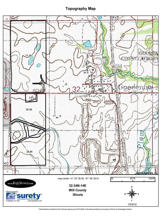 Topographical Map for 160 Acres Crete Township Will County