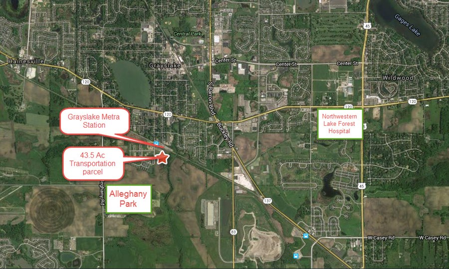 Aerial of 38.5 Ac Grayslake Transportaion Parcel