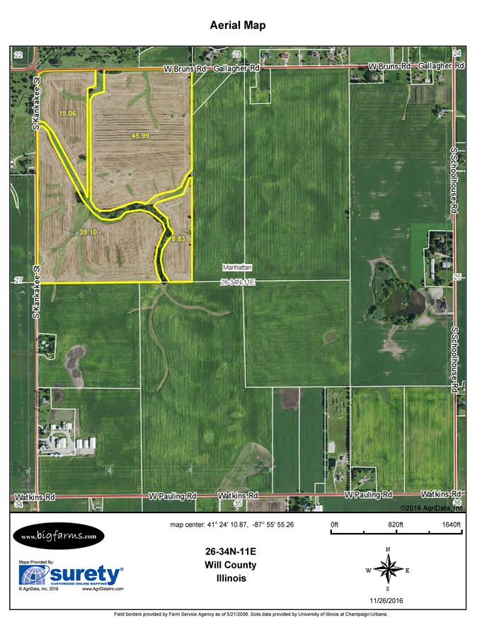 FSA Map of Manhattan Township 104 Acres in Will County Farm