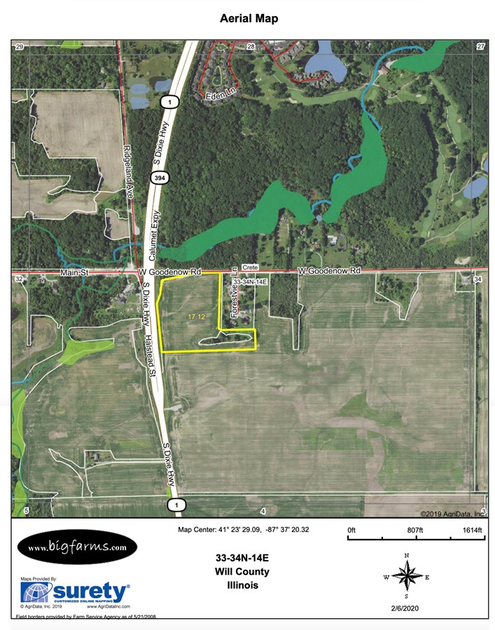 FSA Map 17 Acre Beecher Commercial Corner Crete Township, Will County, IL