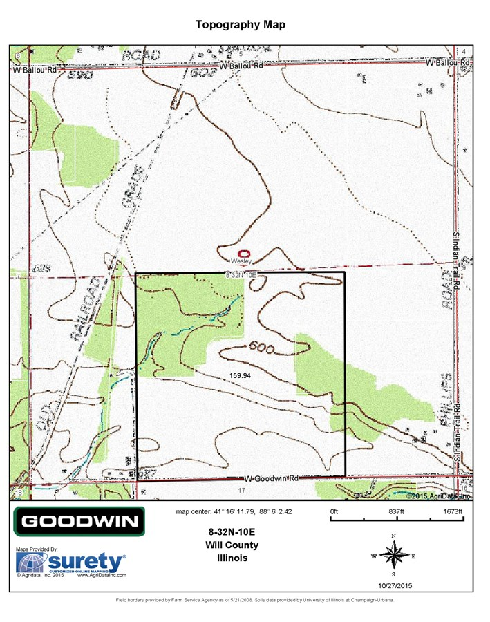 Topographical Map of Wesley Township 160 Acre