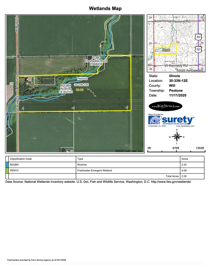 Wetland Map 60 Acre Peotone Kahn Farm Peotone Township, Will County