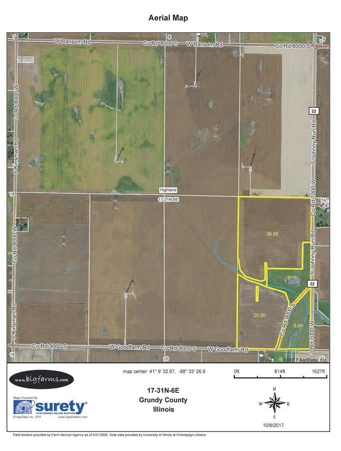 FSA Map of 80 Acre Parcel 1 Highland Township