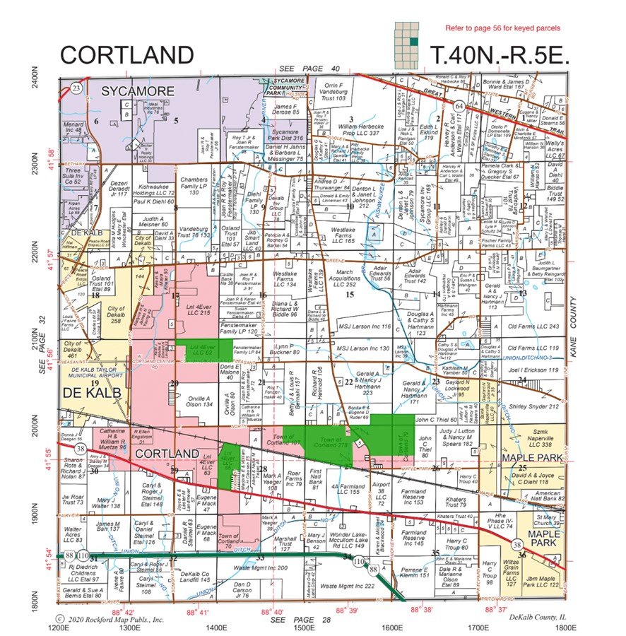Plat Map 481 Acre Cortland Farms, Cortland Township, Dekalb County