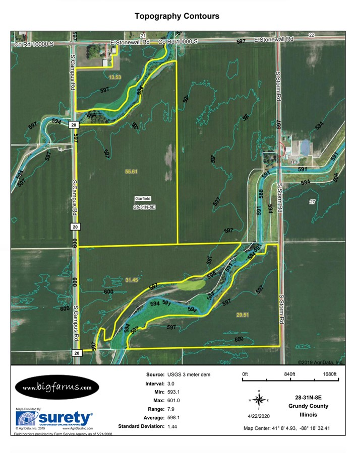 Contours Map 155 Acre Gardner Farm Garfield Township, Grundy County, IL