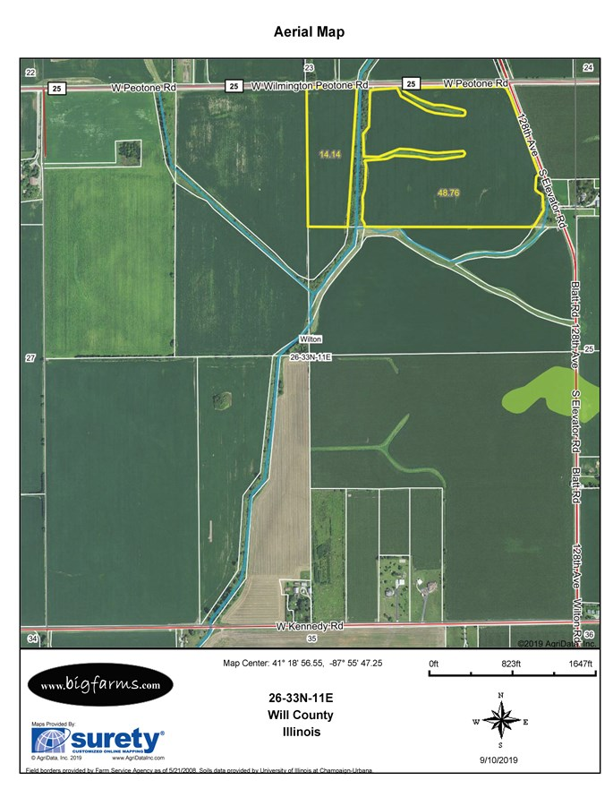 FSA Map for Wilton Township 75 Acres, Will County IL.