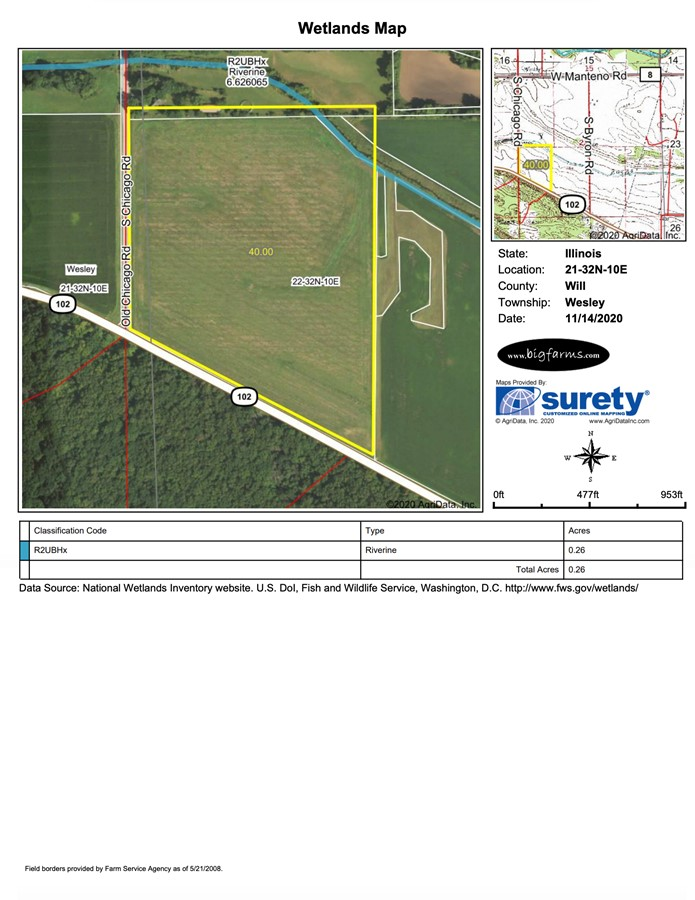 Wetlands Map Parcel #2 Butterfield Farm Custer Township, Will County