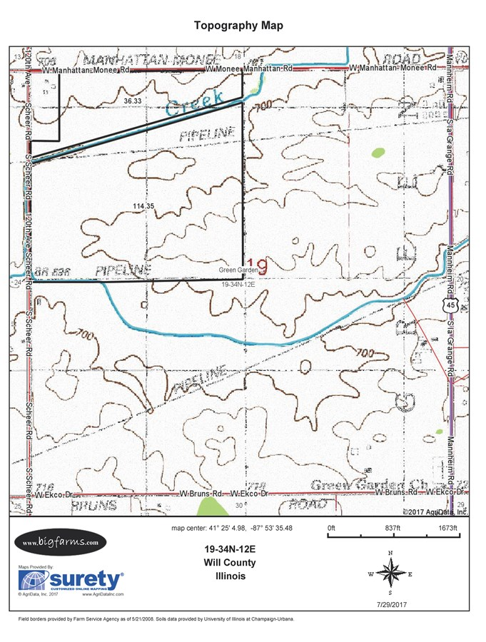 Topographical Map of 152 Acre Green Garden Township
