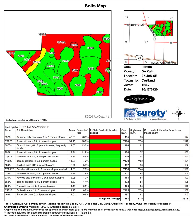 481 Acre Cortland Farms Parcel 4 161.6 ac Soil Map, Cortland Township, Dekalb County
