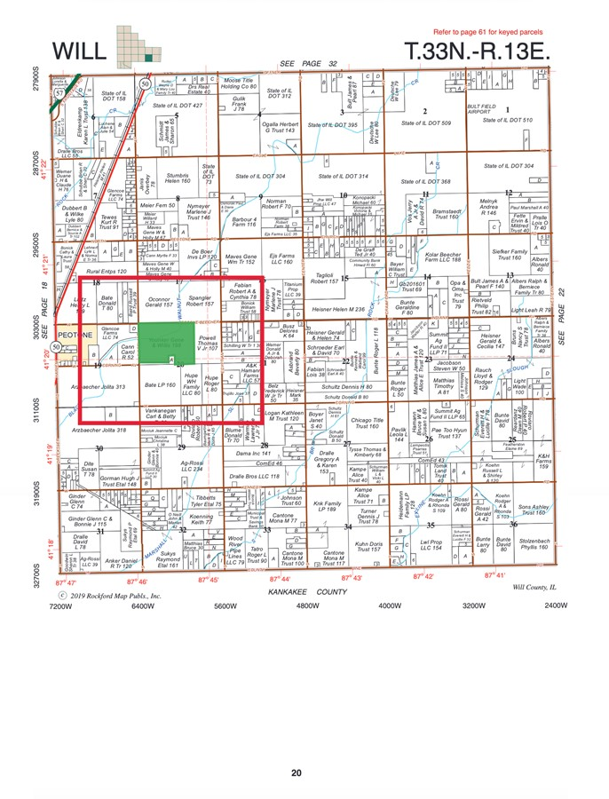 Plat Map 198 Acre Peotone Farm, Peotone, Will Township, Will County, IL
