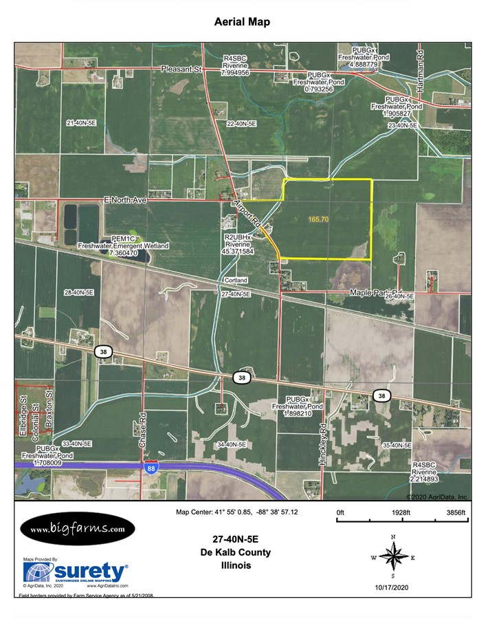 481 Acre Cortland Farms Parcel 4 161.6 ac FSA Map, Cortland Township, Dekalb County