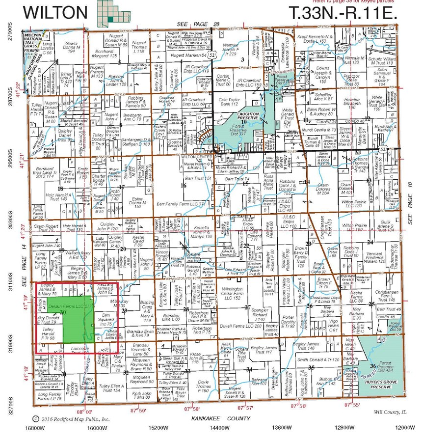 277 Ac Wilton Township Plat Map, Will County IL.