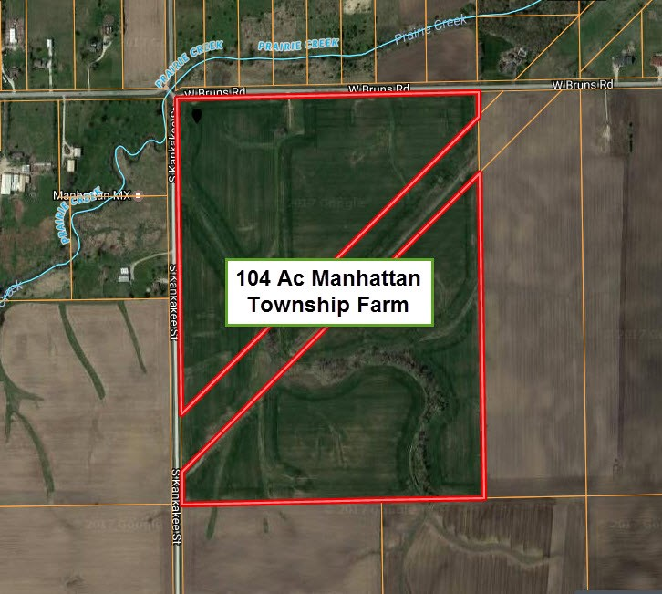Aerial Map of 104 acres in Manhattan Township, Will County