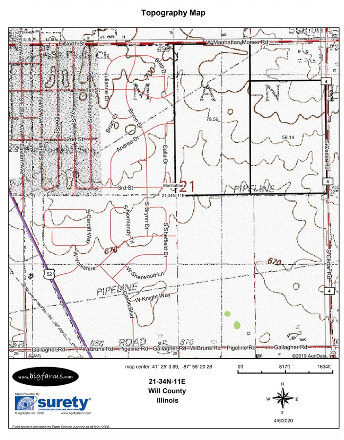 Topography Map 140 Acre Manhattan Farm Located in Manhattan Township, Will County, IL