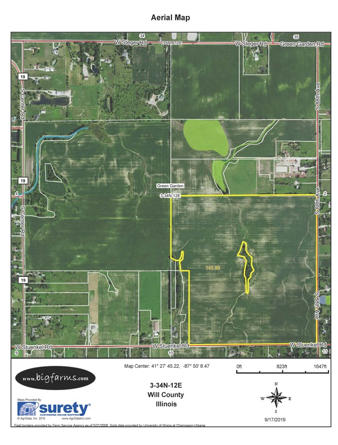 FSA Map for 151 Acres Green Garden Township, Will County