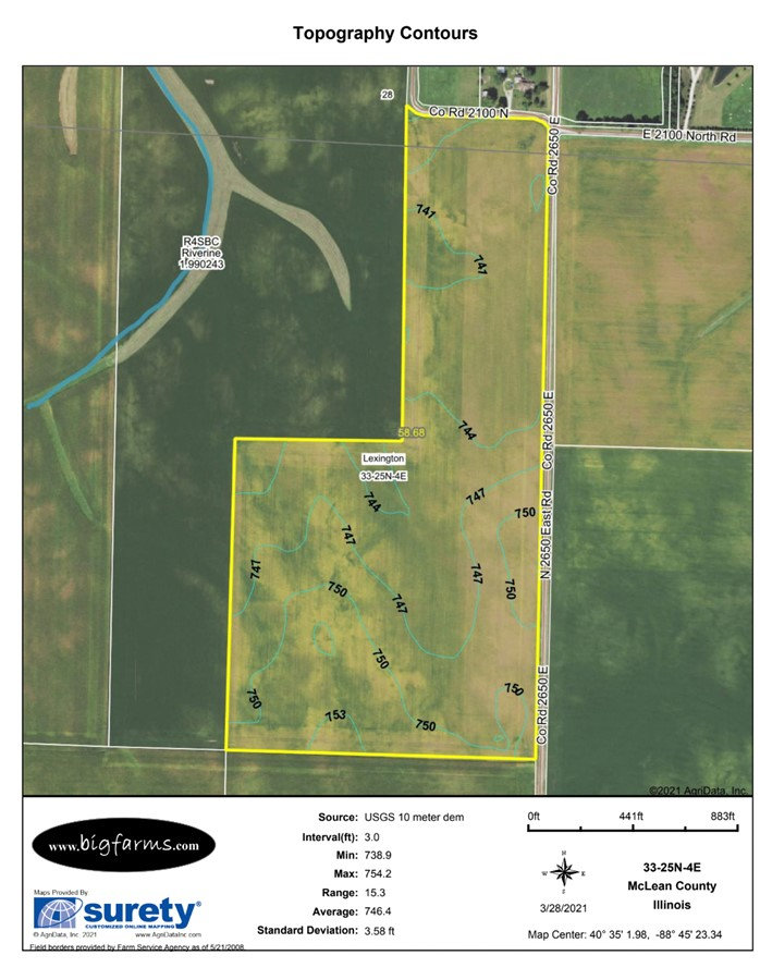 Contours Map 58 Acre McCoy Farm, Lexington Township, McLean County