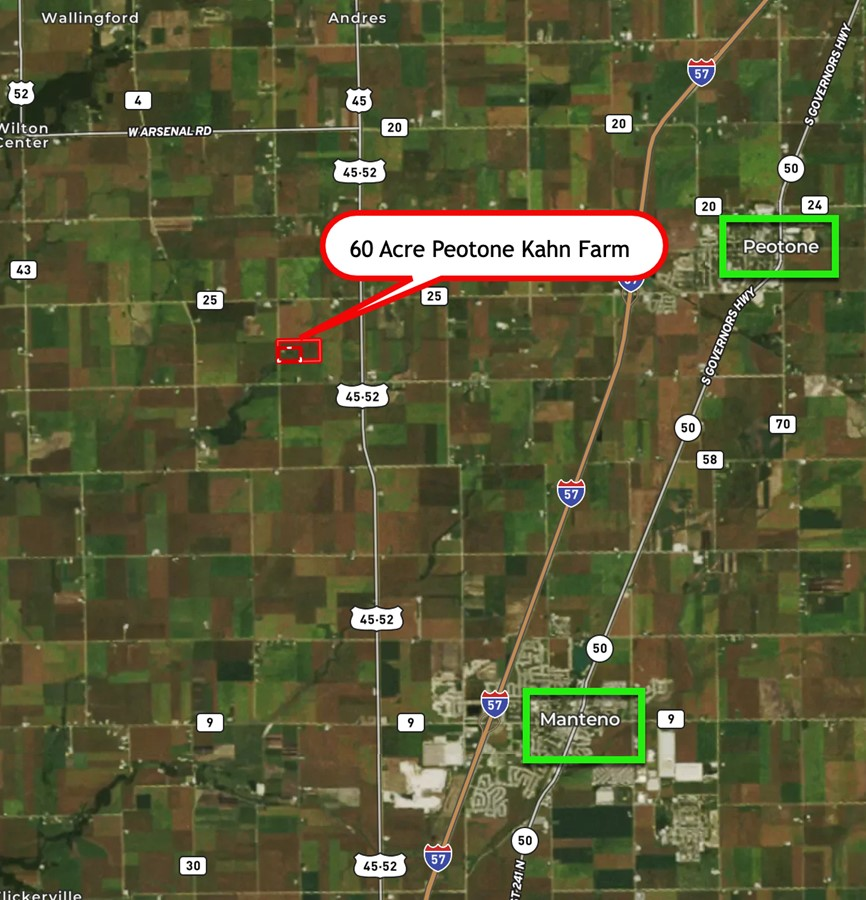 Area Map 60 Acre Peotone Kahn Farm Peotone Township, Will County