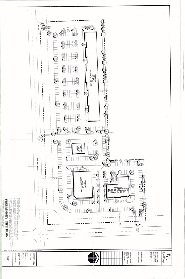 Preliminary Site Plan for the corner of Gougar Rd. & Laraway Rd. New Lenox, IL