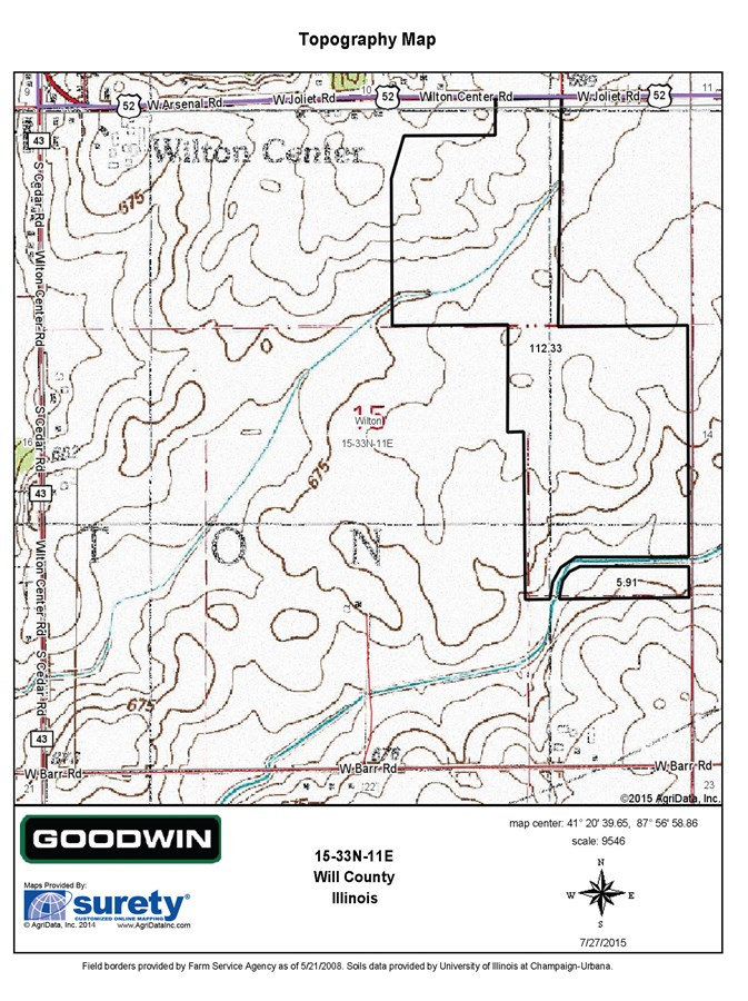 Topographical Map Section 17 Wilton Township, Will County Illinois