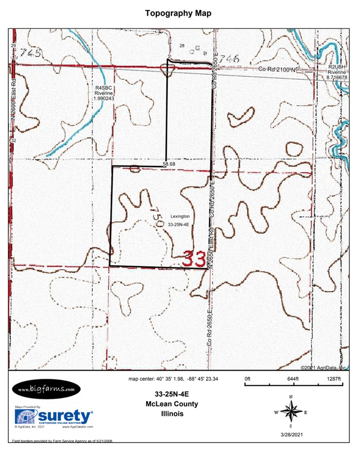 Topography Map 58 Acre McCoy Farm, Lexington Township, McLean County