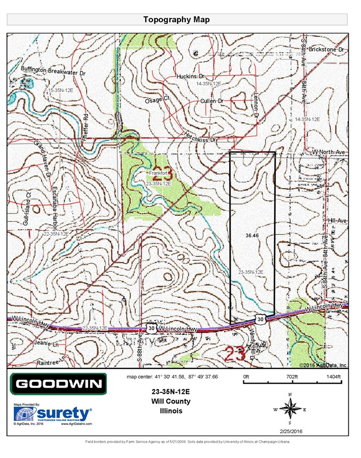 Topographical Map of 37 Ac. Frankfort