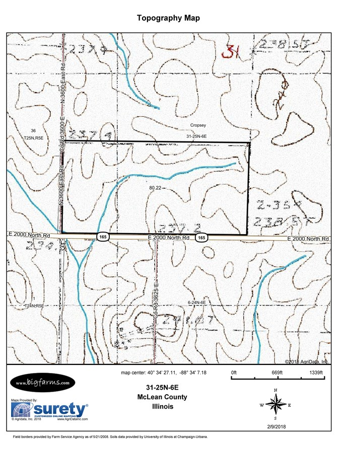Topographical Map of 81 Acre CropseyTownship