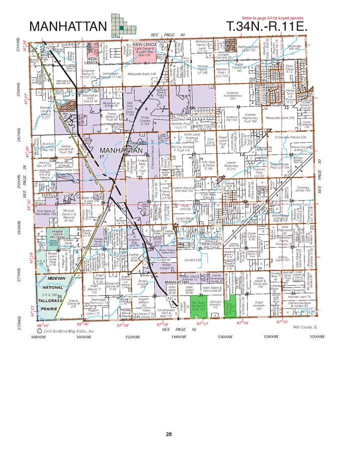 Plat Map of 180 Acres Manhattan Township