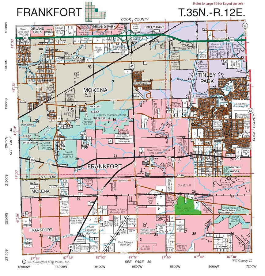 Plat Map of Frankfort Township, Will County IL