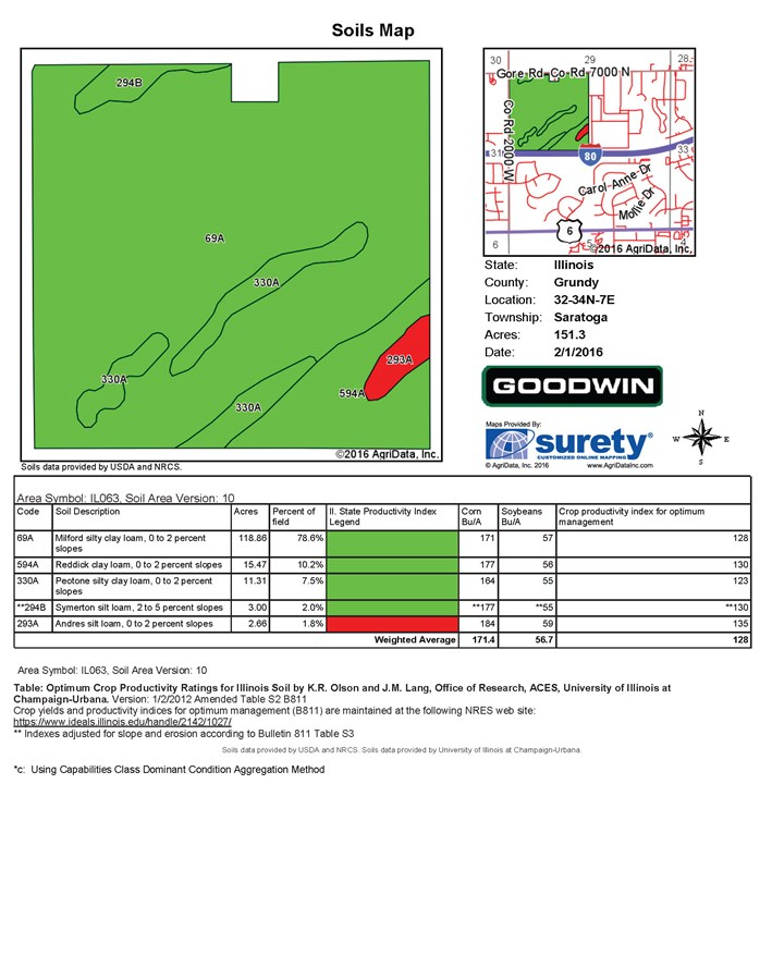 Soil Map for 155 Acres Gore Road, Saratoga Township, Grundy County