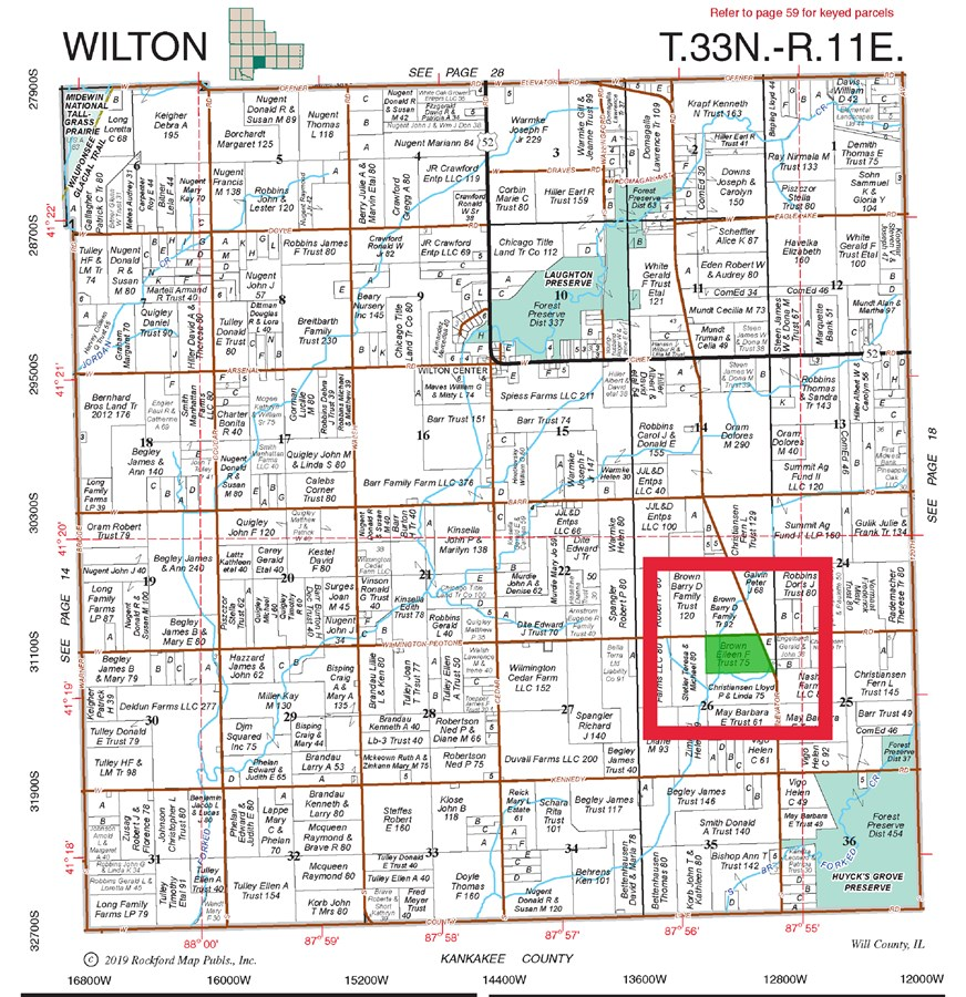 75 Acre Plat Map of Wilton Township, Will County IL