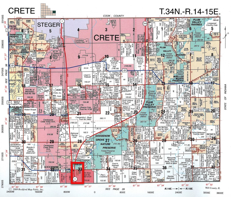 Plat Map 17 Acre Beecher Commercial Corner Lot Crete Township, Will County, IL