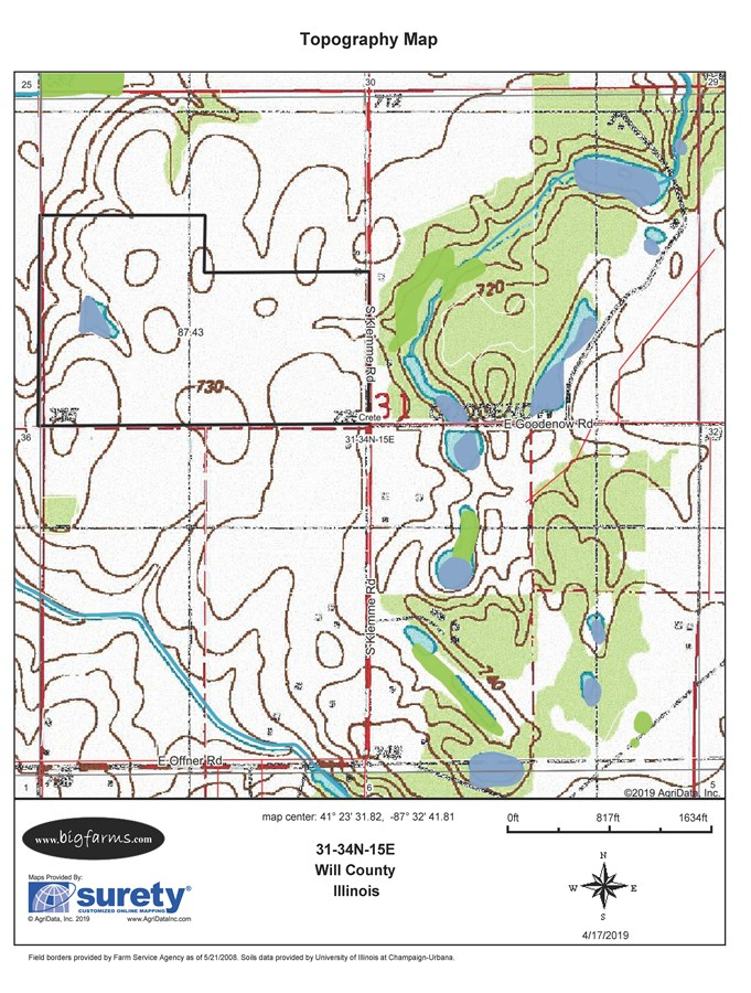 Topographical  Map of 85 Acre Crete Farm